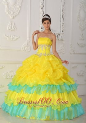 Yellow Color Quinceanera Dresses,bright yellow sweet 15 dresses