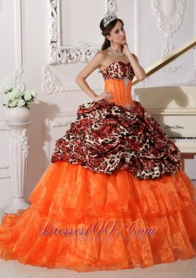 Quinceanera Gown Dresses Leopard Print Sweetheart Orange