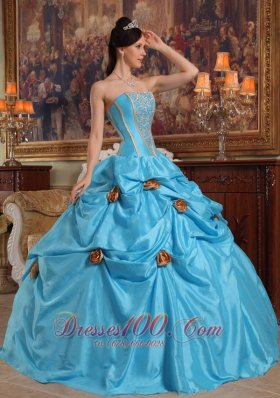 Sky Blue Quinceanera Gown Hand Made Flowers Pick-ups