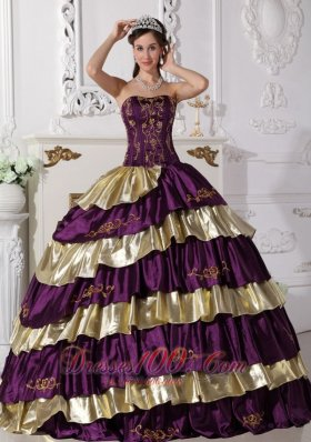Purple and Gold Quinceanera Dress Strapless Taffeta Embroidery