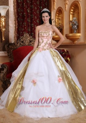 White Quinceanera Dress Strapless Organza Beading Appliques