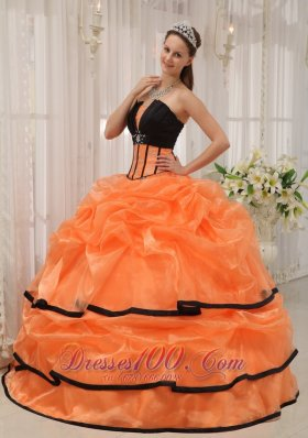 Pretty Orange Black Quinceanera Dress Strapless Satin