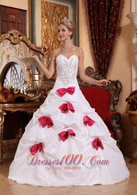 Modest White Quinceanera Dress Sweetheart Taffeta Beading
