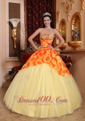 Yellow Quinceanera Dress Sweetheart Tulle Beading