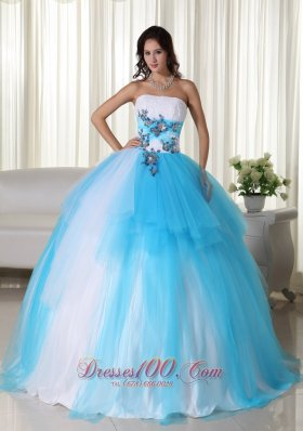 Aqua Ball Gown Strapless TrTulle Beading Quinceanera Dress