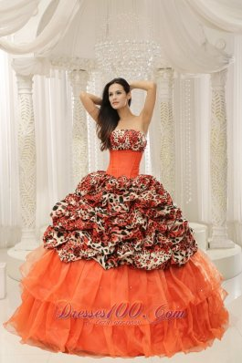Organza Upscale Beaded Decorate Leopard Quinceanera Dress