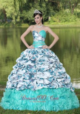 Organza Beaded Pick-ups and Ruffles Quinceanera Dress