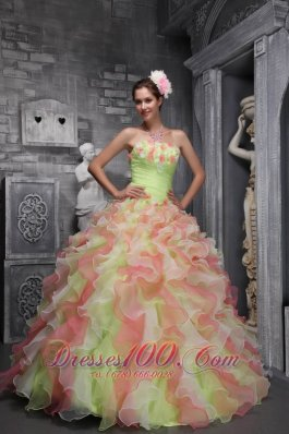 Sassy Multi-color Sweet 16 Dress Strapless Taffeta Organza Floral
