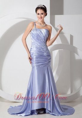 Mermaid One Shoulder Lilac Prom Pageant Dress Brush Train