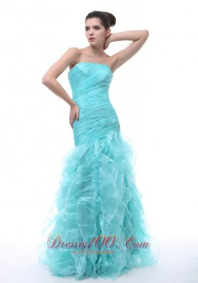 Mermaid Ruffled Blue Organza Prom Evening Dress