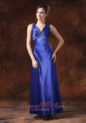 Royal Blue Beaded Halter Column Evening Dress