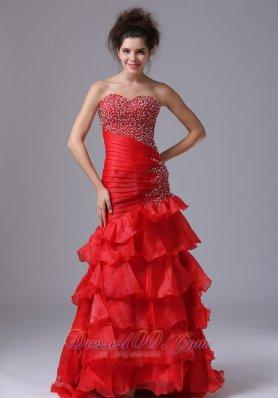 Mermaid Bright Red Ruffled Asymmetrical Prom Pageant Dress