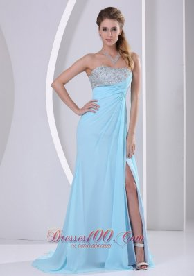 Light Blue High Slit Beading Celebrity Dress Party Style