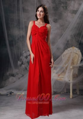Blood Red Ruched Prom Celebrity Dress Chiffon Beading