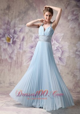 Halter Baby Blue Pleated Prom Evening Dress Chiffon Beading