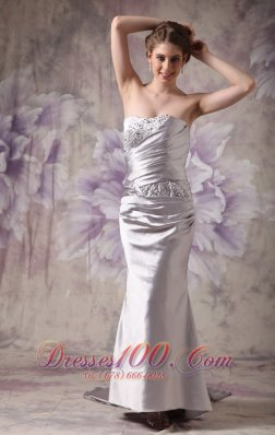 Silver Strapless Evening Dress Taffeta Beading Brush Train
