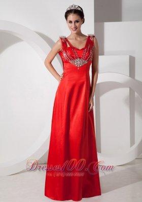 Straps Red Prom Evening Dress Satin Beading Floor-length