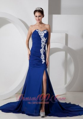 Appliques Blue Chiffon High Split Evening Dress for Prom