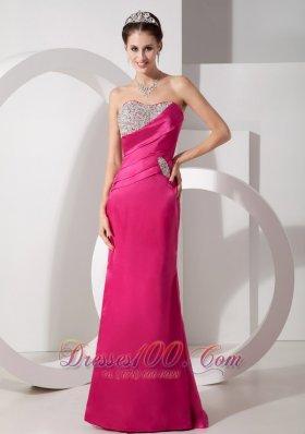 Hot Pink Column Asymmetrical Prom Evening Dress Satin Beading