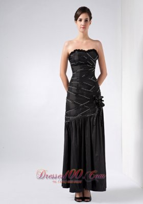 Black Strapless Beading teenager Prom Dress Ankle-length