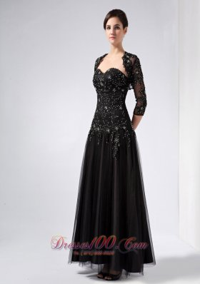 Black Sweetheart Beading Prom Dress Ankle-length Tulle