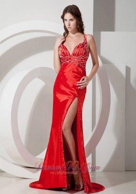 Cross Straps Red High Split Beading 17 Prom Evening Dress