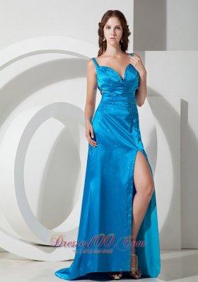 High Split Sky Blue Column Straps Beading Prom Evening Dress