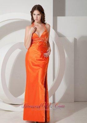 Orange Column Halter Beading Prom Dress Side Split