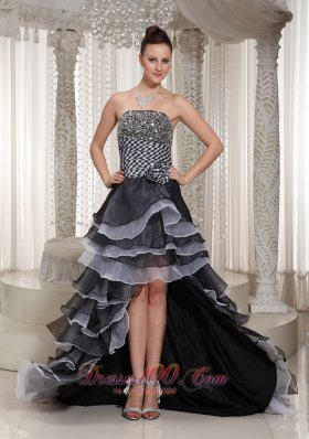 High-Low Strapless white and Black Beaded Evening Pageant Dress