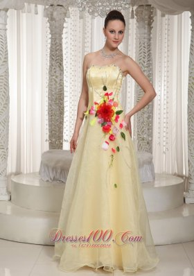 Colorful Flowers Beading Organza Yellow Prom Pageant Dress