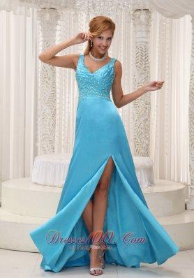 High Slit Aqua Blue Beaded Prom Evening Dress