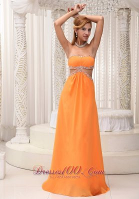 Orange Strapless Beaded Prom Evening Dress Chiffon