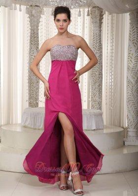 Strapless Fuchsia High Split Chiffon Beading Prom Dress