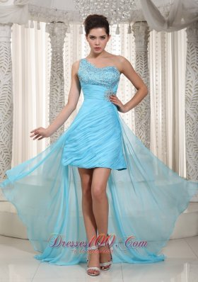 One Shoulder High-low Aqua Blue Chiffon Prom Dress