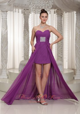 High-low Purple Sweetheart Chiffon Prom Dress Beading