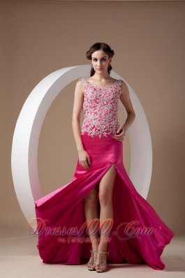 Appliques Fuchsia Evening Dress Scoop Side Split