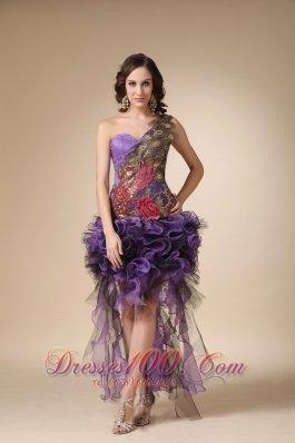 High-low Cocktail Dress Purple One Shoulder Appliques