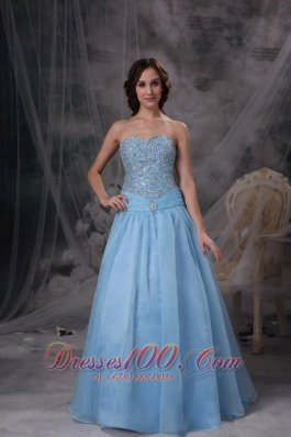 Beading Baby Blue Sweetheart Prom Gowns Oraganza