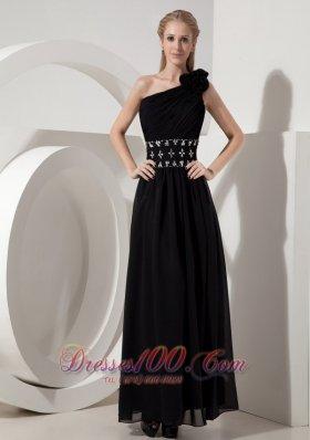 One Shoulder Little Black Dress Chiffon Beading Ankle-length