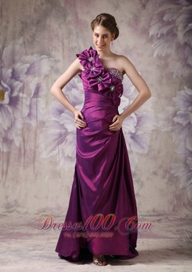 Purple One Shoulder Prom Dress Hand Made Flowers