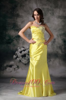 Mermaid Yellow Evening Dress Taffeta Beading Brush Train