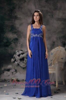 Royal Blue Straps Prom Maxi Dress Chiffon Beading Floor-length