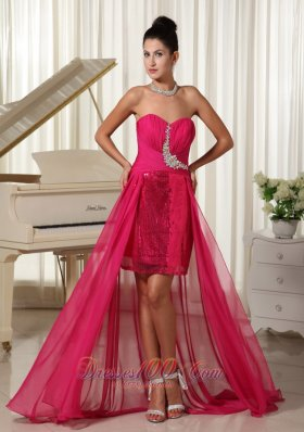 High-low Sequined Hot Pink Evening Dress Appliques
