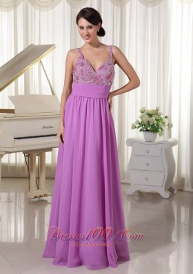 Chiffon Spaghetti Straps Lavender Evening Party Dress