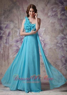Hand Made Flowers One Shoulder Aqua Blue Prom Dress