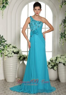 Blue Hand Made Flowers One Shoulder Prom Gowns