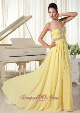 Light Yellow Beaded Chiffon Prom Homecoming Dress