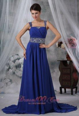 Beading Straps Royal Blue Chiffon Prom Evening Dress