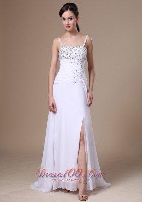 Spaghetti Straps High Slit Beaded Chiffon Prom Pageant Dress