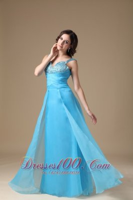 Aqua Blue Beading Straps Celebrity Prom Dress
